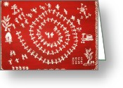 India Tapestries - Textiles Greeting Cards - Warli art Greeting Card by Renuka Thoppae