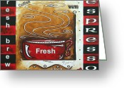 Cuisine Artwork Greeting Cards - Warm Cup of Joe Original Painting MADART Greeting Card by Megan Duncanson