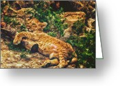 Lay Greeting Cards - Warm Kitty Soft Kitty Greeting Card by Bill Tiepelman