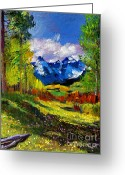 Snow Capped Painting Greeting Cards - Warm Mountain Valley Plein Air Greeting Card by David Lloyd Glover