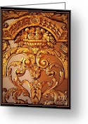 Brown Digital Art Greeting Cards - Warm Wood Design with Border Greeting Card by Carol Groenen