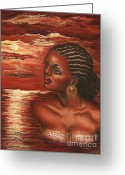 Orange Pastels Greeting Cards - Warmth of the Sun Greeting Card by Alga Washington