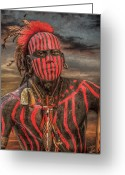 Native Digital Art Greeting Cards - Warpath Shawnee Indian Greeting Card by Randy Steele