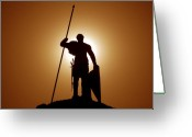 Roman Photo Greeting Cards - Warrior Greeting Card by David Lee Thompson