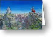 Knights Castle Painting Greeting Cards - Warrior On The Striding Edge Greeting Card by Anthony Lyon