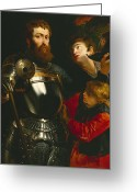 Knight In Shining Armour Greeting Cards - Warrior  Greeting Card by Peter Paul Rubens