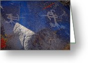 Renegade Greeting Cards - Warrior Petroglyph Greeting Card by John Bennett