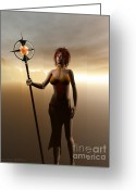3d Digital Art Greeting Cards - Warrior Princess Greeting Card by Sandra Bauser Digital Art