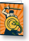 Fighting Greeting Cards - Warrior with sword serpent Greeting Card by Aloysius Patrimonio