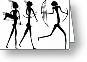 Tribal Drawings Greeting Cards - Warriors - Primitive Art Greeting Card by Michal Boubin