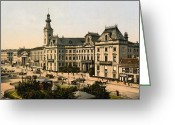 Town Hall Greeting Cards - Warsaw Poland - Town Hall - ca 1900 Greeting Card by International  Images