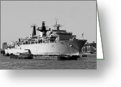 Warship Greeting Cards - Warship HMS Bulwark Greeting Card by Jasna Buncic
