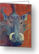 Boar Greeting Cards - Warthog Defiance Greeting Card by Tracy L Teeter