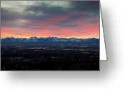 Snowcapped Greeting Cards - Wasatch Sunset Greeting Card by Photo by Jim Boud