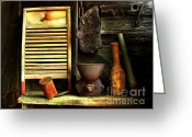 Cabin Interiors Photo Greeting Cards - Washboard Still Life Greeting Card by Julie Dant
