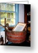 Old Washboards Greeting Cards - Washboard Greeting Card by Susan Savad
