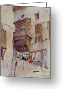 Arabia Greeting Cards - Washday Jeddah Greeting Card by Dorothy Boyer