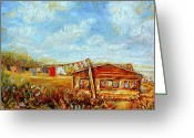 Autumn In The Country Painting Greeting Cards - Washday Mondays Country Clothesline Quebec Summmer Landscape Greeting Card by Carole Spandau
