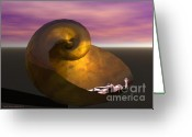 3d Digital Art Greeting Cards - Washed Ashore Greeting Card by Sandra Bauser Digital Art