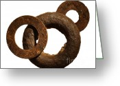 Weathered Objects Greeting Cards - Washers Greeting Card by Tony Cordoza