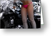 Sexy Women Greeting Cards - Washing Harley Greeting Card by Steven  Digman