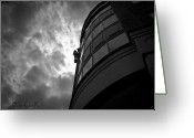 Abstract Building Greeting Cards - Washing Windows in the city Greeting Card by Bob Orsillo