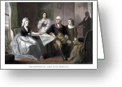 Us Patriot Greeting Cards - Washington And His Family Greeting Card by War Is Hell Store