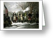 Military Hero Drawings Greeting Cards - Washington and His Generals  Greeting Card by War Is Hell Store