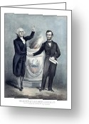 American President Drawings Greeting Cards - Washington and Lincoln Greeting Card by War Is Hell Store