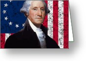 President Washington Greeting Cards - Washington and The American Flag Greeting Card by War Is Hell Store