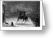 Military Hero Drawings Greeting Cards - Washington At The Battle Of Trenton Greeting Card by War Is Hell Store