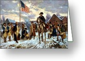 President Painting Greeting Cards - Washington at Valley Forge Greeting Card by War Is Hell Store