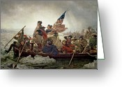 Usa Flag Greeting Cards - Washington Crossing the Delaware River Greeting Card by Emanuel Gottlieb Leutze