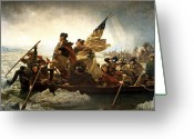 Us Patriot Greeting Cards - Washington Crossing The Delaware Greeting Card by War Is Hell Store