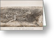 Potomac River Greeting Cards - Washington D.c., 1892 Greeting Card by Granger