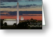 Lincoln Memorial Photo Greeting Cards - Washington DC Landmarks at Sunrise I Greeting Card by Clarence Holmes