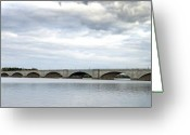 Arlington Memorial Bridge Greeting Cards - Washington DC Memorial Bridge Panorama Greeting Card by Brendan Reals