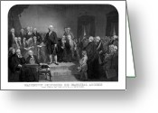 Military Hero Drawings Greeting Cards - Washington Delivering His Inaugural Address Greeting Card by War Is Hell Store