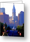 Philly Digital Art Greeting Cards - Washington Looking Over to City Hall Greeting Card by Bill Cannon