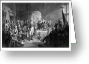 President Washington Greeting Cards - Washington Meeting His Generals Greeting Card by War Is Hell Store