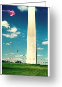 Washington D.c. Pyrography Greeting Cards - Washington Monument 1982 Greeting Card by Karl Preston