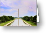 Us Capital Greeting Cards - Washington Monument and Reflecting Pool Greeting Card by Bill Cannon