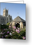 Washington Cathedral Greeting Cards - Washington National Cathedral And Stone Greeting Card by Richard Nowitz