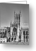 Washington Cathedral Greeting Cards - Washington National Cathedral in the District of Columbia Greeting Card by Brendan Reals