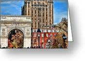 Life In The City Greeting Cards - Washington Square Fall Greeting Card by Joanna Madloch
