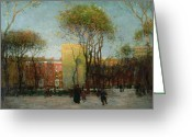 Old Fashioned Painting Greeting Cards - Washington Square New york Greeting Card by Paul Cornoyer