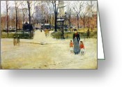 Childs Greeting Cards - Washington Square Park Greeting Card by Stefan Kuhn