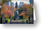 New England Autumn Greeting Cards - Washington statue in Autumn Greeting Card by Susan Cole Kelly