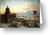 Midwest Greeting Cards - Washington Street Indianapolis at Dusk Greeting Card by Theodor Groll
