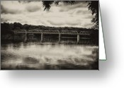Delaware River Greeting Cards - Washingtons Crossing Bridge Greeting Card by Bill Cannon